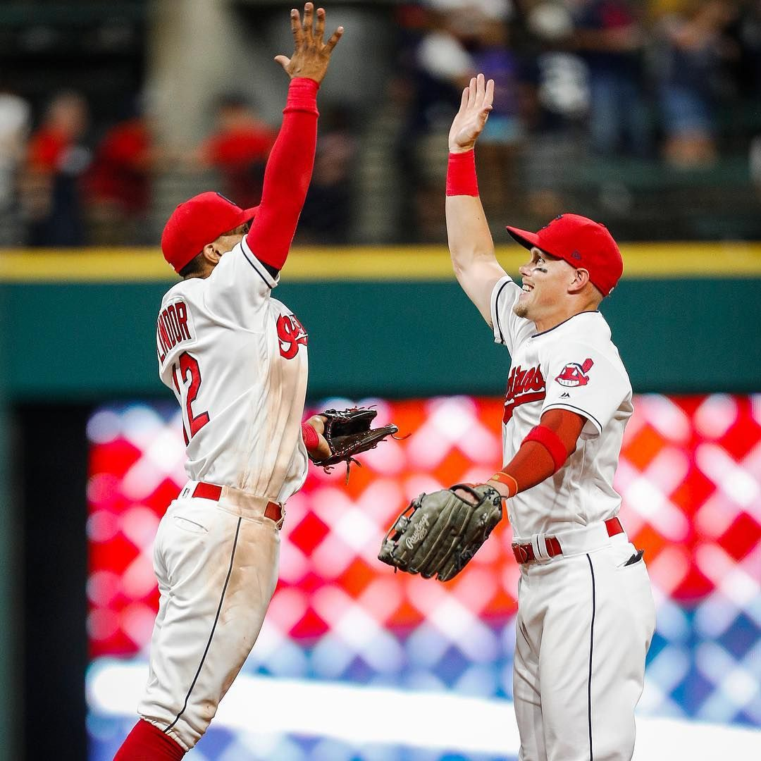 Cleveland Indians Francisco Lindor And Brandon Guyer Celebrate After Winning 6 5 Against The New York Yankees At Progress Cleveland Indians New York Yankees Cleveland