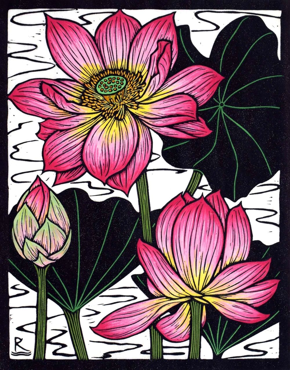 Sacred Lotus I 28 X 22 Cm Edition Of 50 Hand Coloured Linocut On
