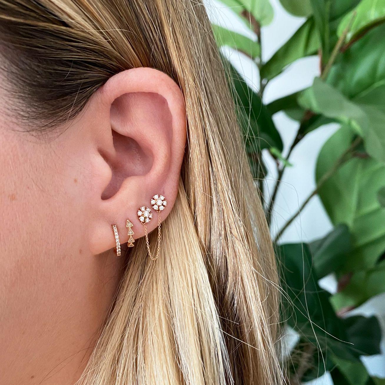 Delicate Stud Earrings Chunky Industrial Style Chain Drop Earrings Dainty Gold Studs Dangle Chain Link Earrings Gold Dangle Earrings