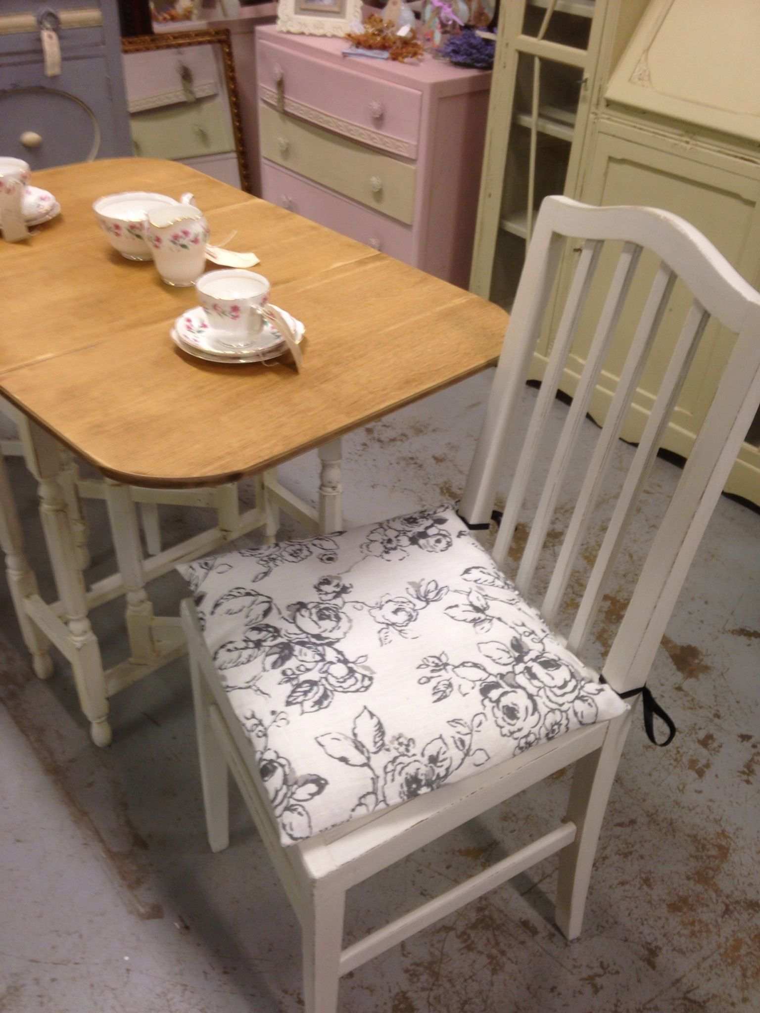 Small Drop Leaf Table And Two Chairs With Hand Made Seat Pads