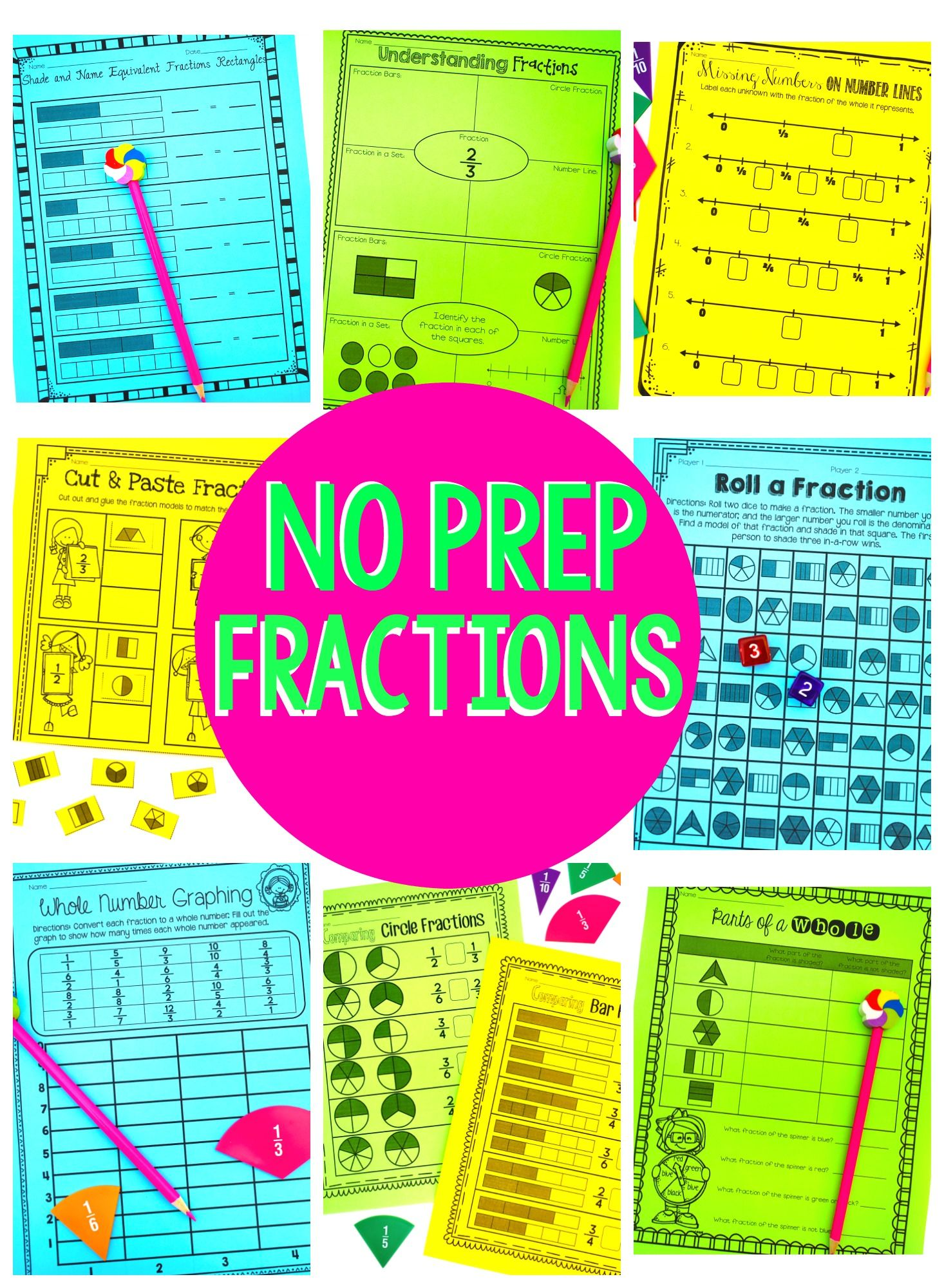 No Prep Fractions Printables