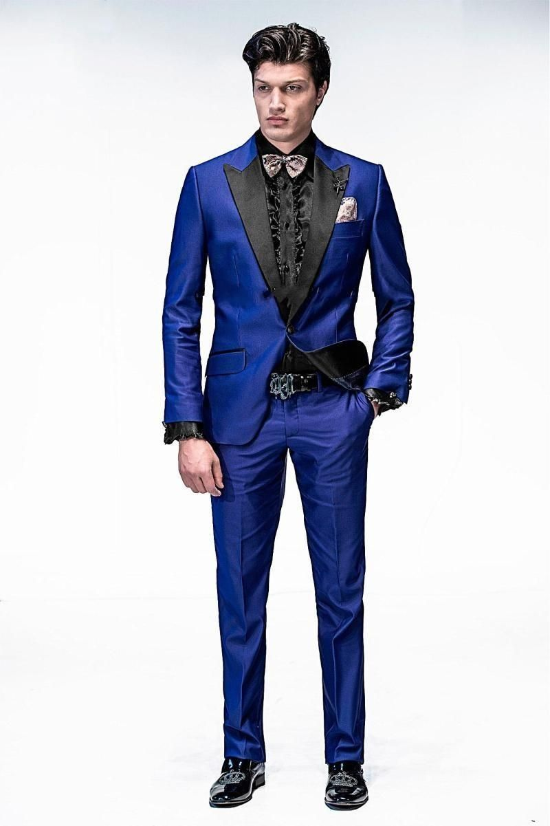 71df5544878b Handsome One Button Royal Blue Groom Tuxedos Peak Lapel Groomsmen Men  Wedding Tuxedos Dinner Prom Suits Jacket+Pants+Girdle+Tie G1452 Tuxedos For  Men ...