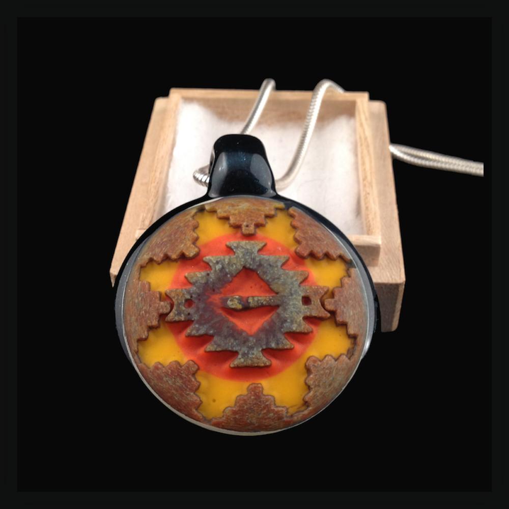 Heady Hunter Borosilicate Glass Art Gallery | Amani Summerday Double Sided Hollow Disc Pendant (#2)