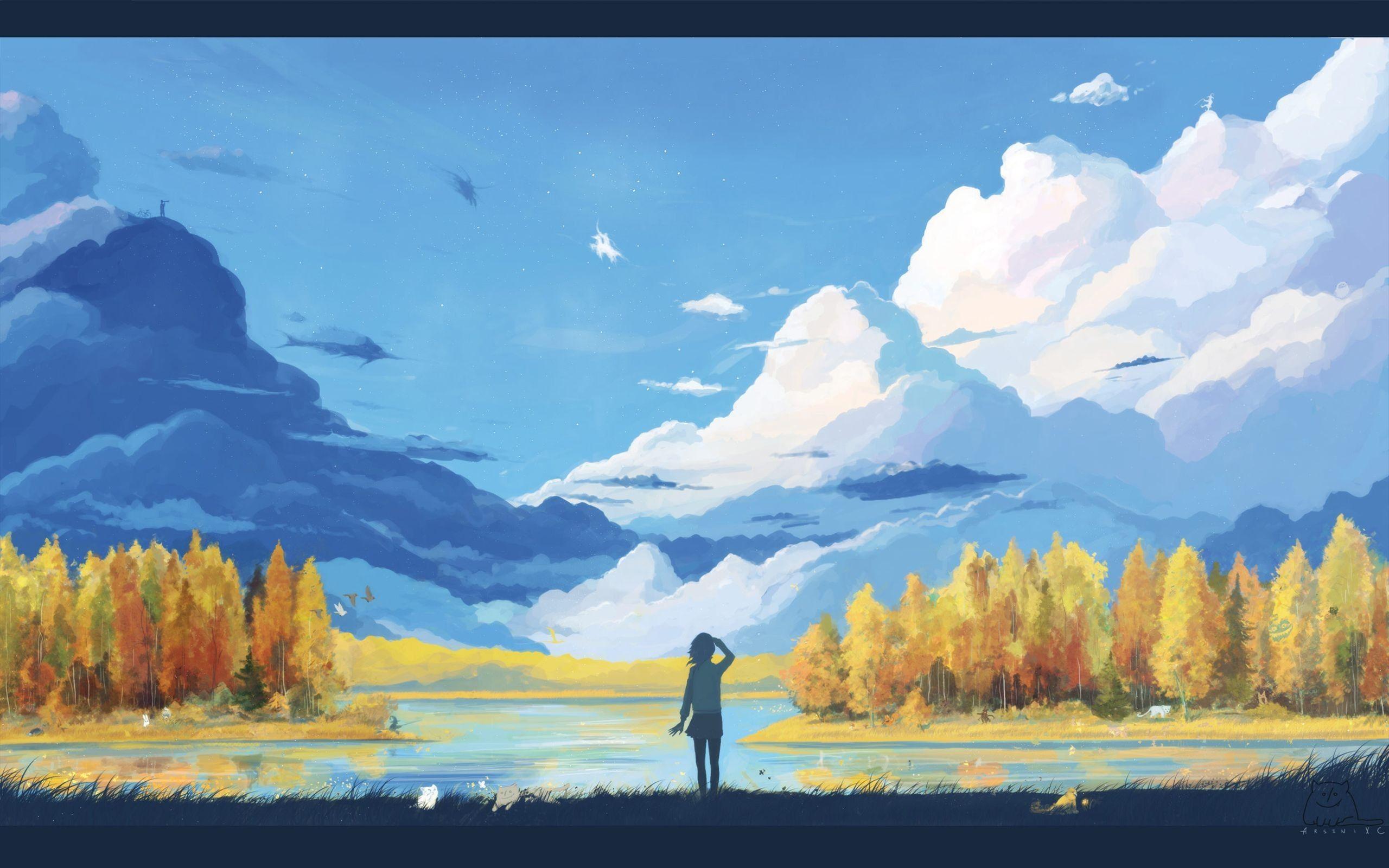 Anime Art Scenery With Girl Wallpaper Desktop  Wallpaper