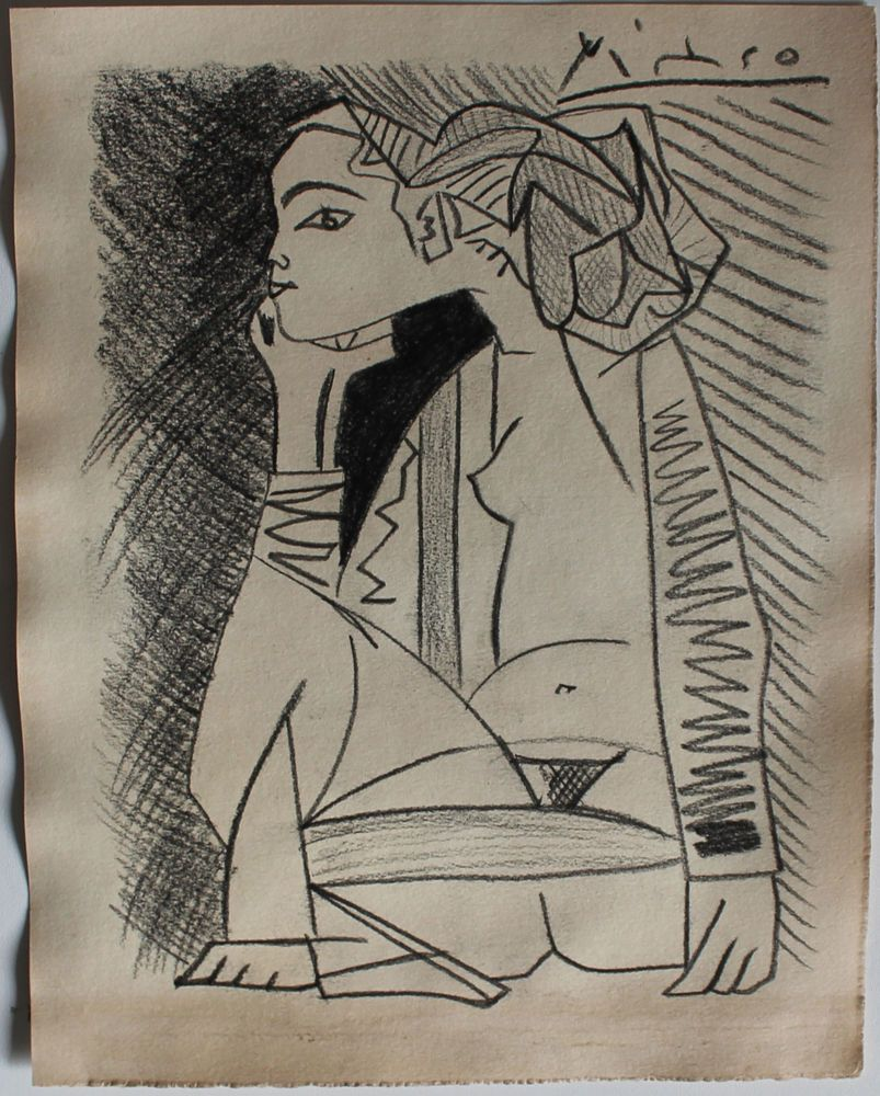 Pencil drawing signed picasso cubism repository of