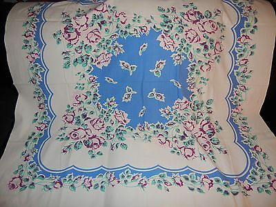 Grandmas-Estate-Vintage-50-039-s-Cotton-Floral-Blue-Purple-Roses-Tablecloth-50-034-x-46