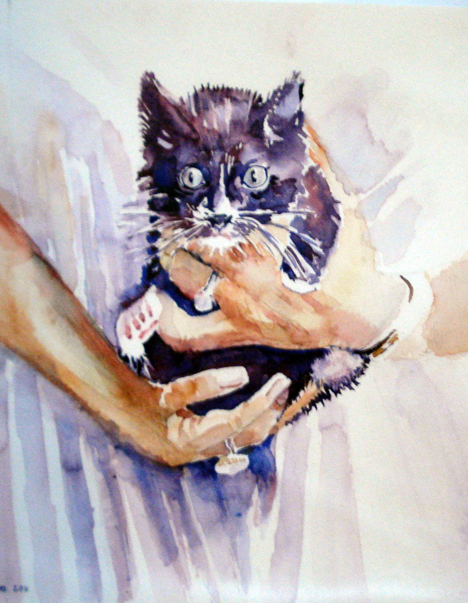 Kitten Watercolor Art Painting Kittens