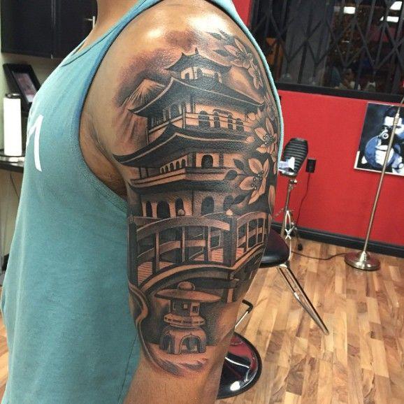 5b848a36bb0e5 Cool Chinese Pagoda Tattoo Ideas 99   Cool Tattoo Design Idea for ...