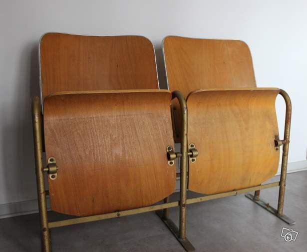 vintage siege banquette bois cin ma 2 fauteuils ameublement pyr n es orientales. Black Bedroom Furniture Sets. Home Design Ideas