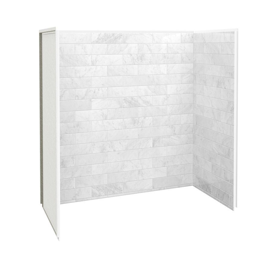 Shop MAAX Marble Carrara Fiberglass/Plastic Composite Bathtub Wall Surround  (Common: 30 In X 60 In; Actual