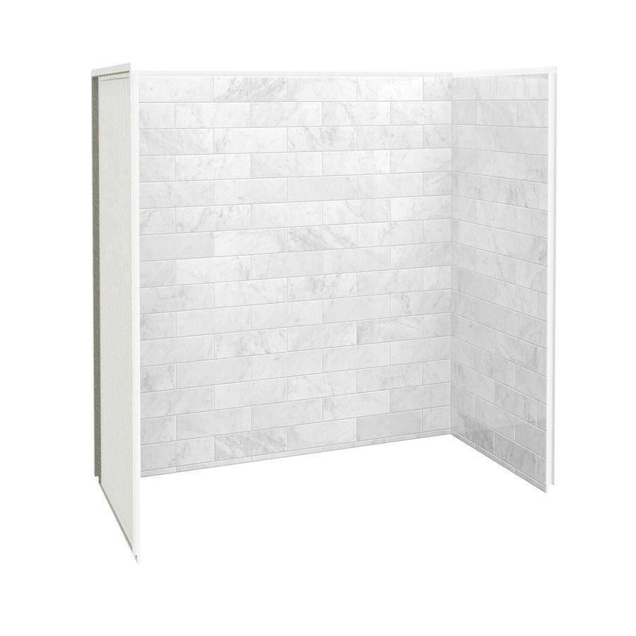Maax Marble Carrara Fiberglass Plastic Composite Bathtub Wall