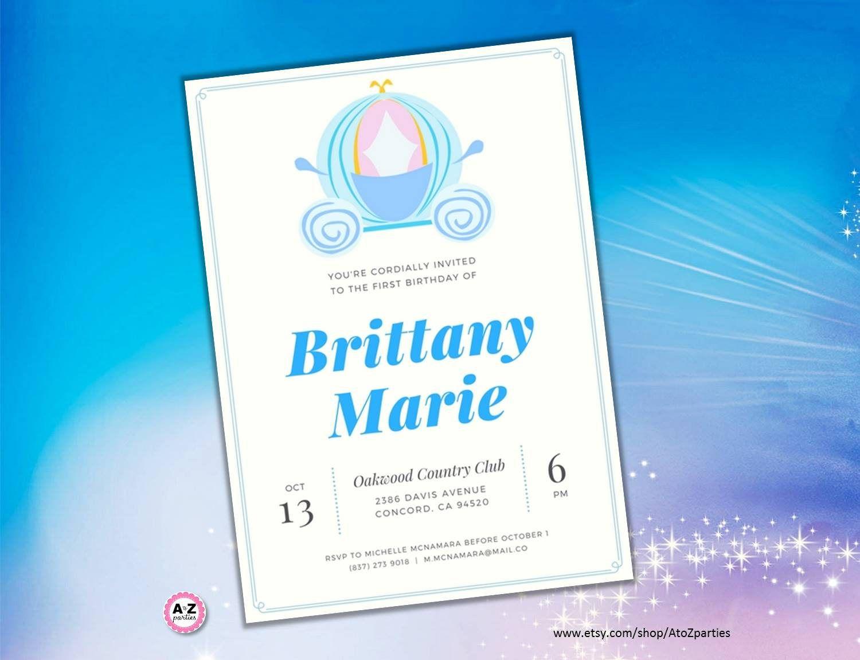 Cinderella Party Invitation, Carriage, Princess Cinderella, Print ...