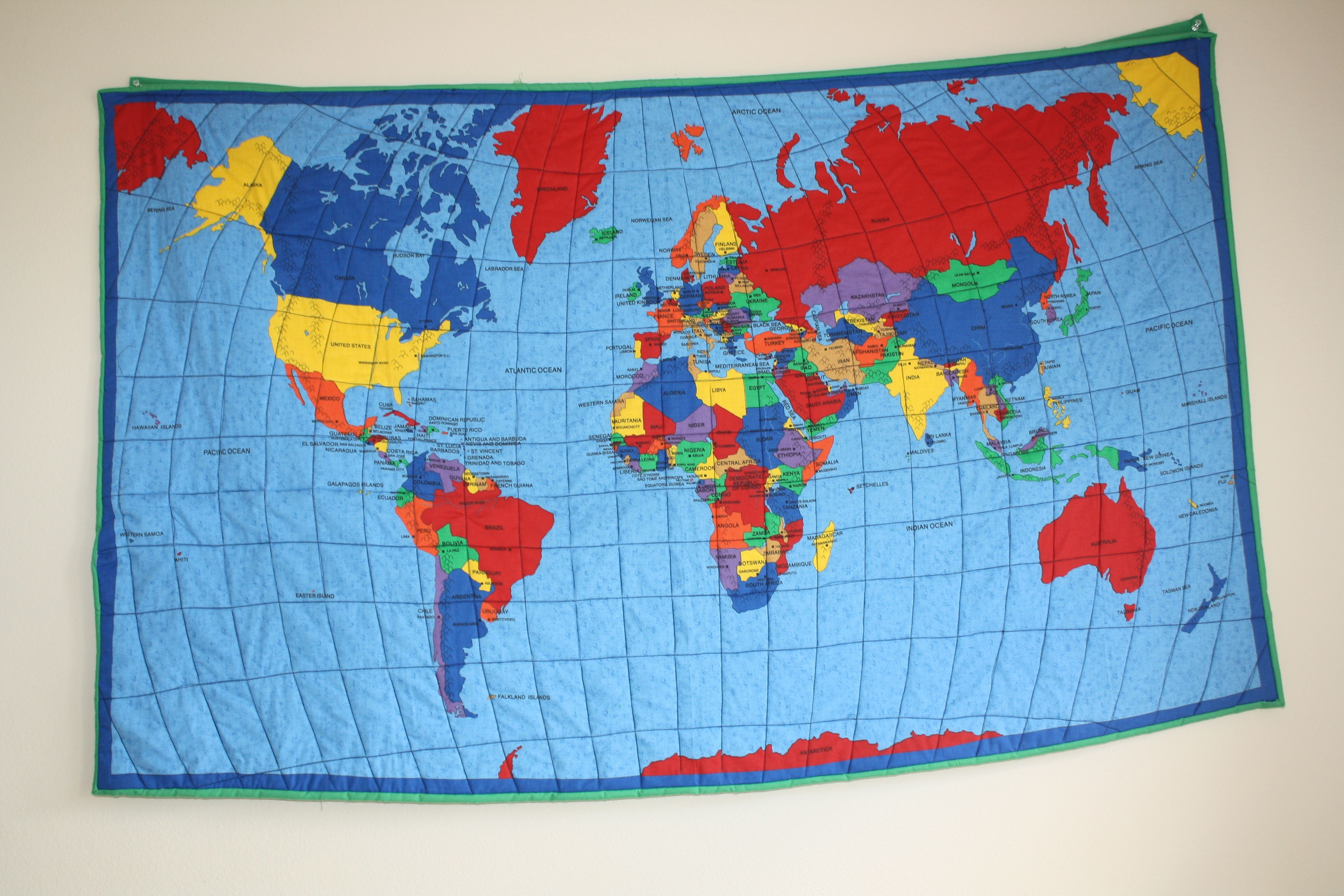 World Map Quilt world map quilt | Quilts Maps | Map quilt, Embroidery stitches
