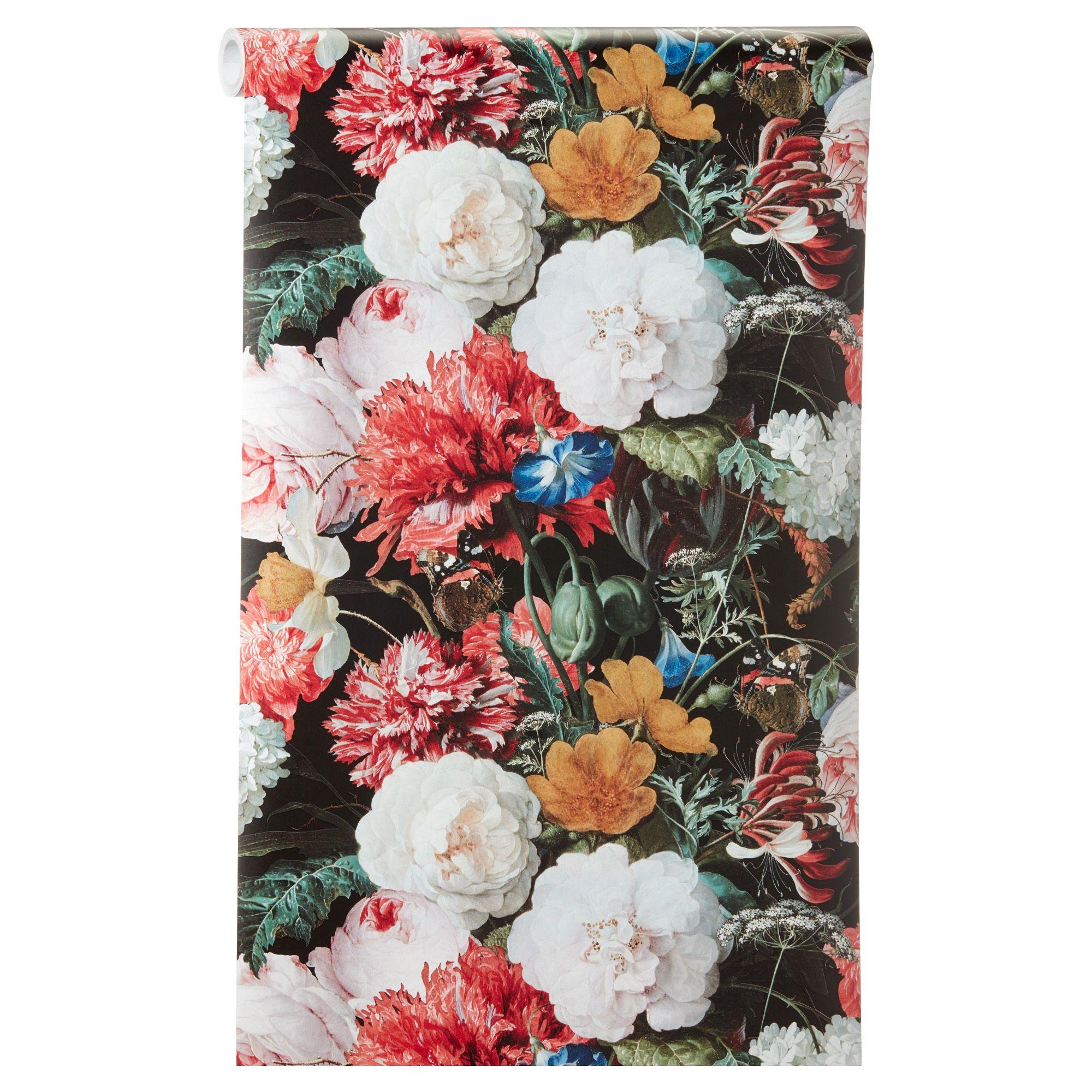 Vliesbehang met vrolijke bloemenprint Plakken met Perfax