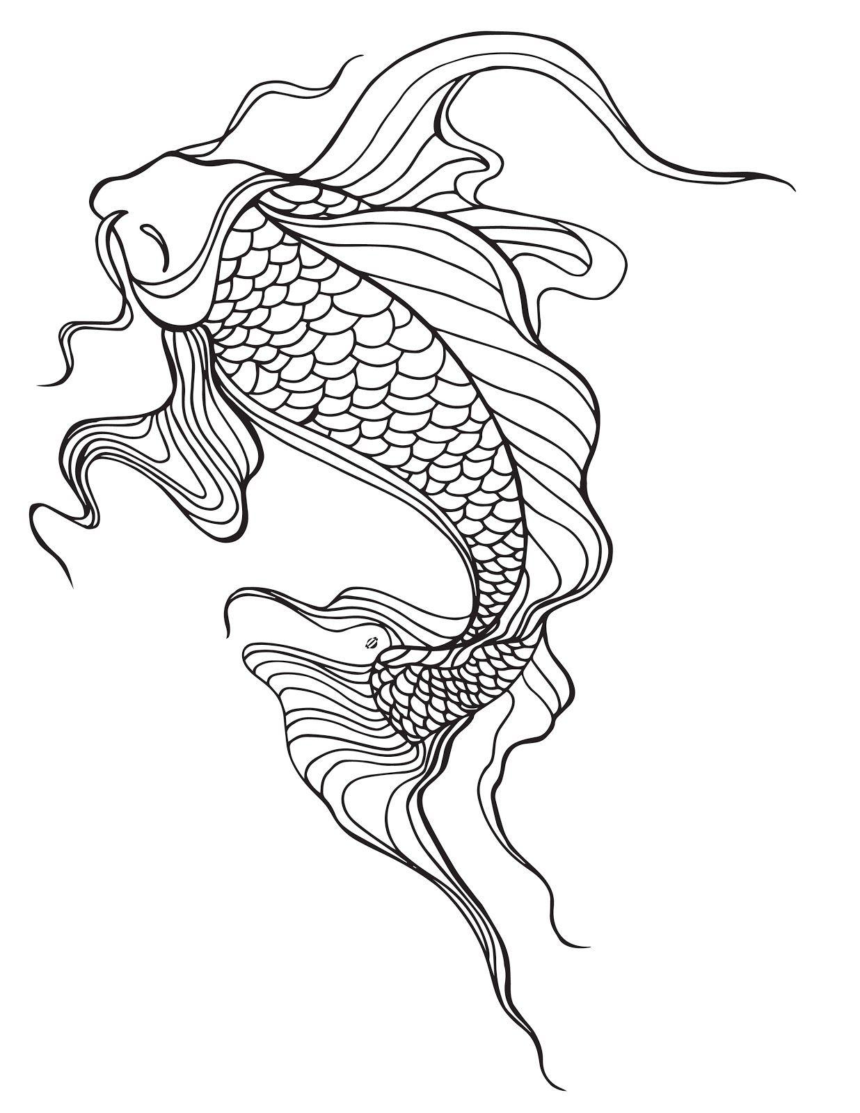 Lostbumblebee Mdbn Grown Up Colouring Coloring Sheets Koi Fish Free Donate To