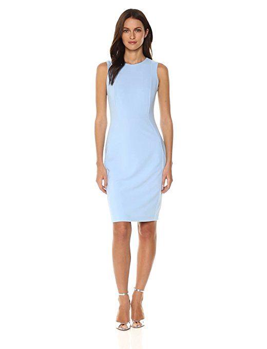 d12e58cb Calvin Klein Women's Scuba Crepe Sleeveless Princess Seam Sheath Dress,  Serene, 6