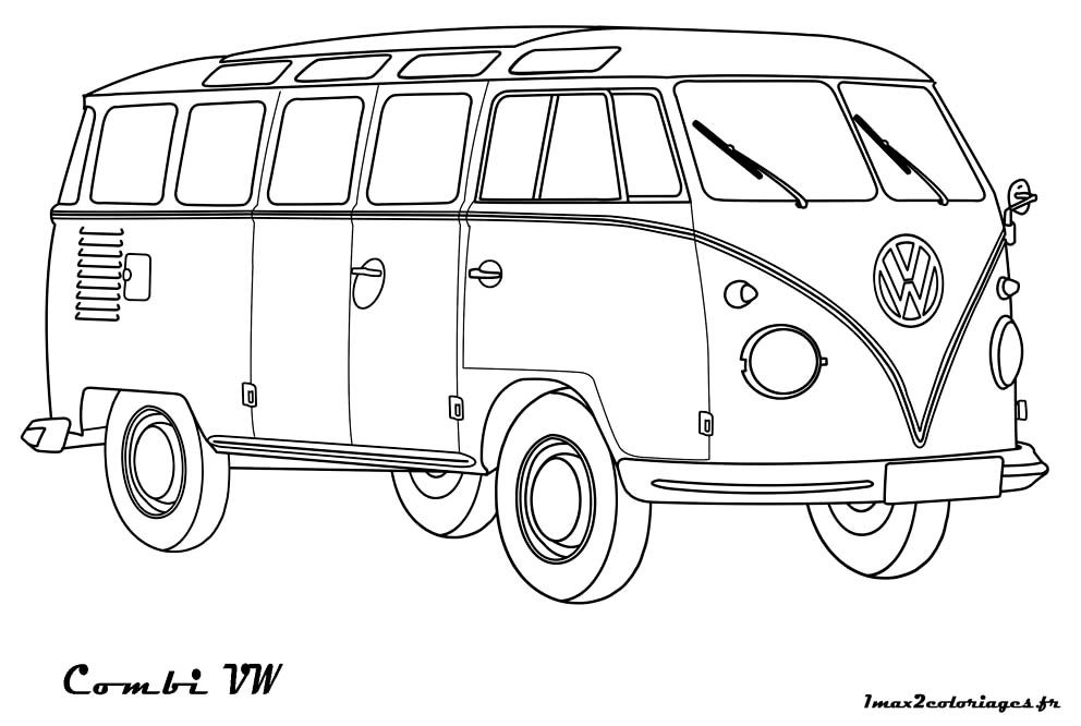 Coloriages de Bagnoles - Combi Volkswagen a colorier | carros ...