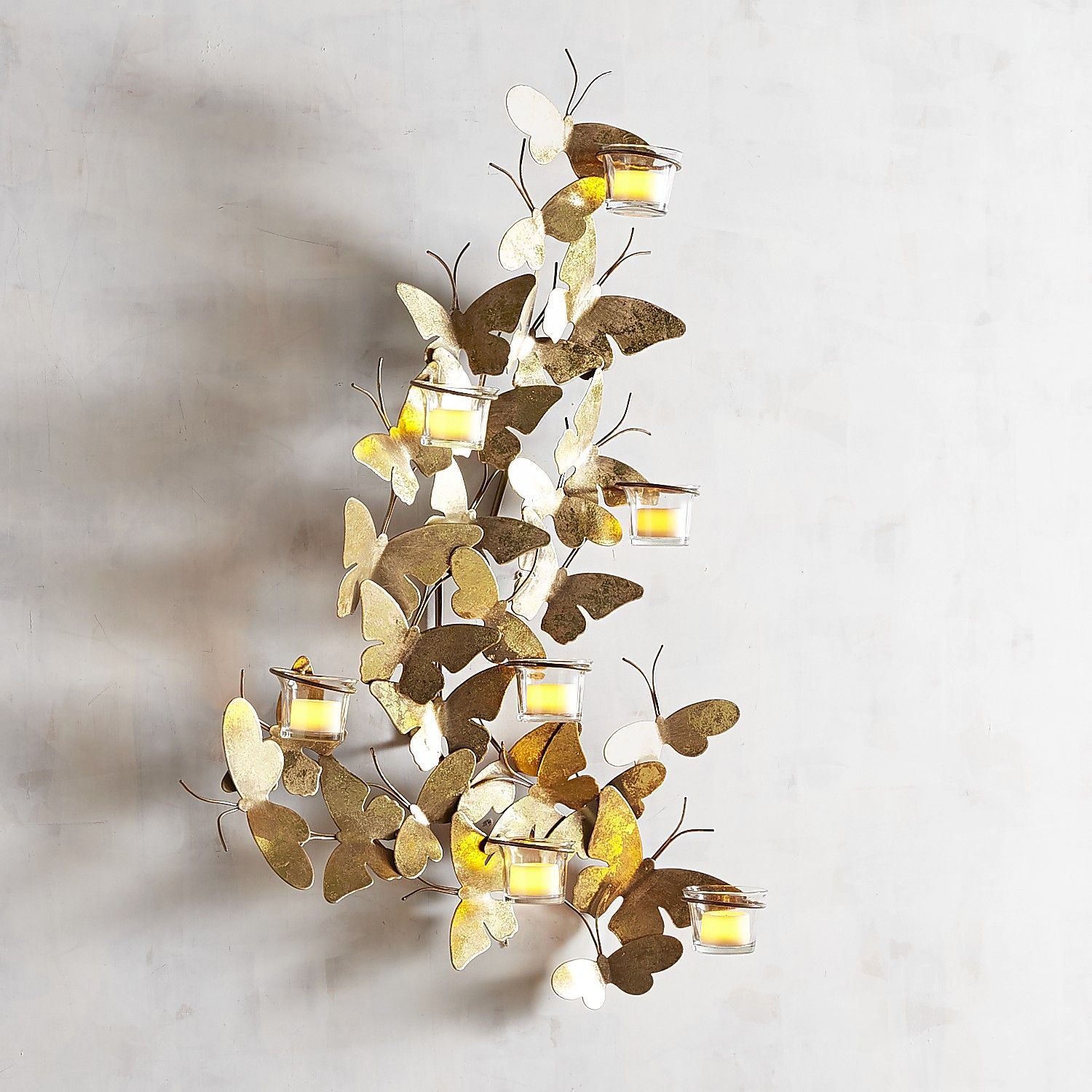 Golden butterflies candle holder wall sconce wall sconces