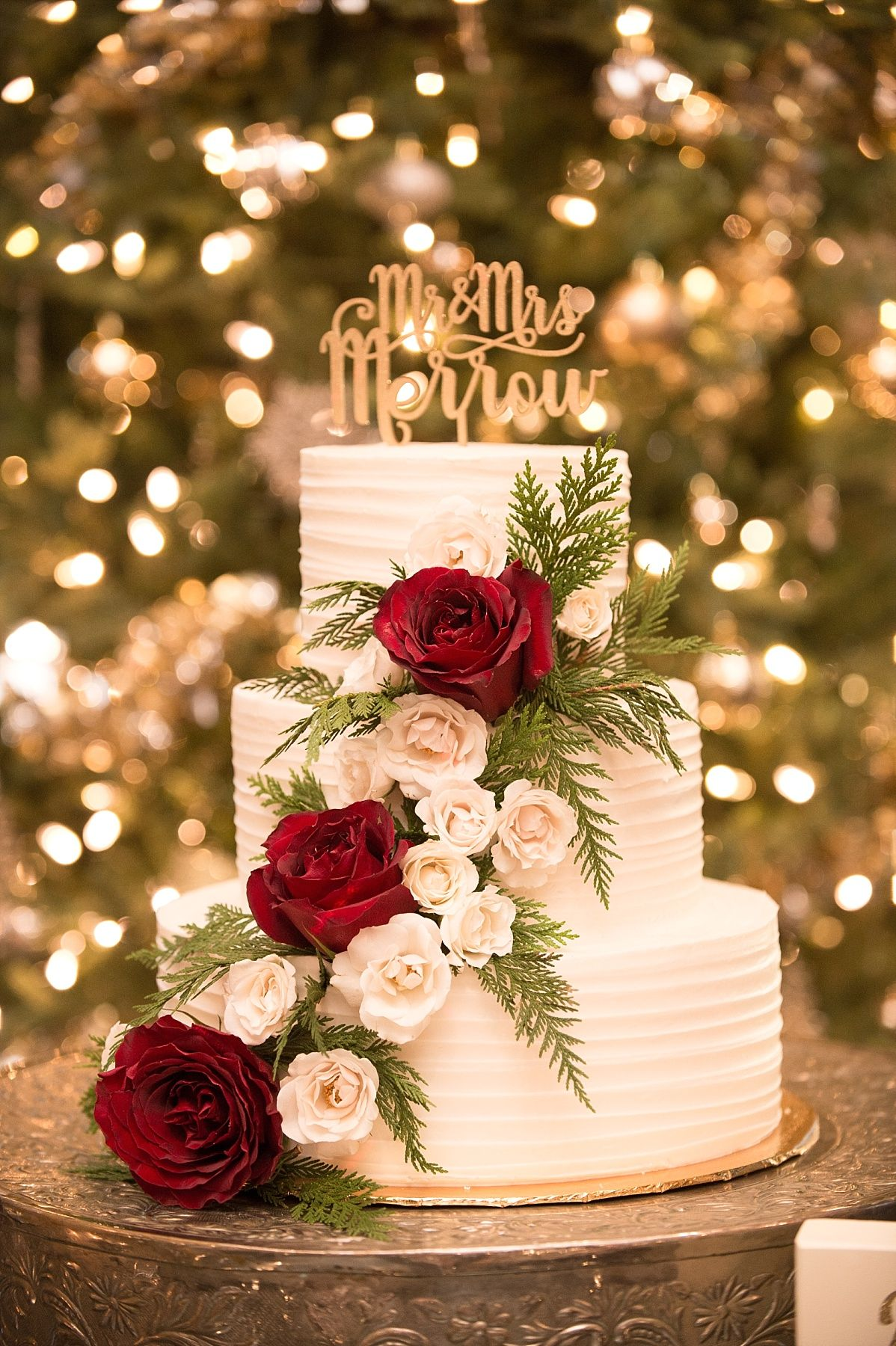 Three Tier White Wedding Cake With Flowers