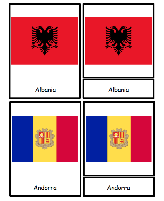 Three Part Cards - Europe Flags