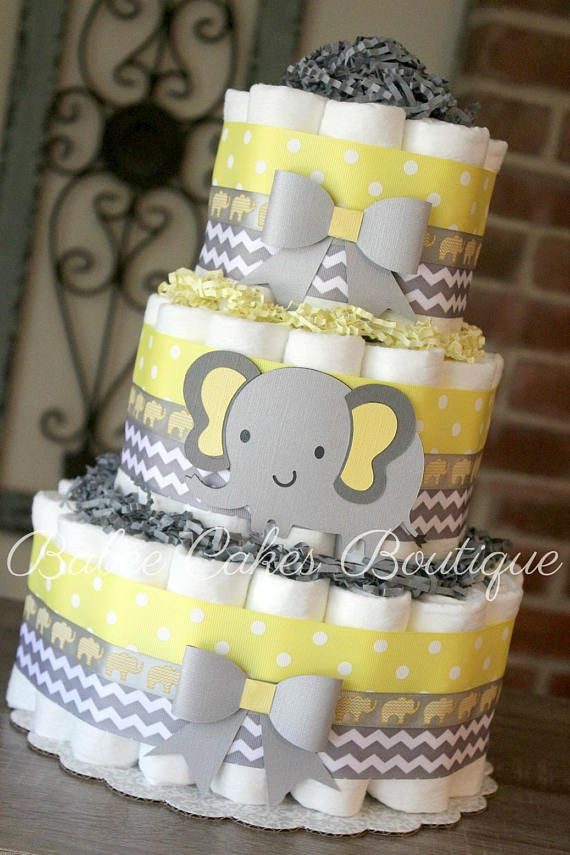 3 Tier Yellow And Gray Elephant Diaper Cake Yellow Grey Baby