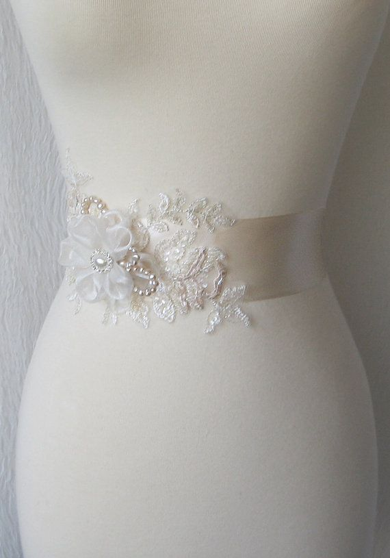 Pale Champagne Bridal Sash Wedding Gown Sash by TheRedMagnolia ...