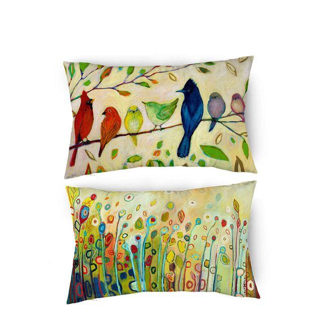Cojines De Lino Azul aves tropicales Cubierta Sofá Almohadón Funda