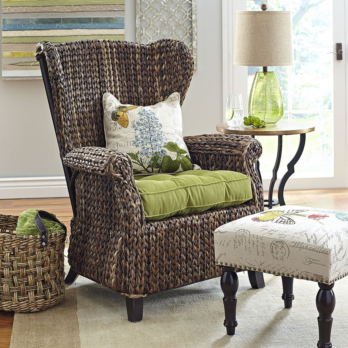 Pier One Chairs Living Room Mocha Brown Wicker Wing Chair Chairs Wings And Brown