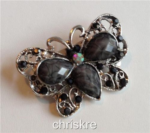 Crystal Butterfly Brooch Pin Gray Black Insect Vintage Antique Silver USA Seller