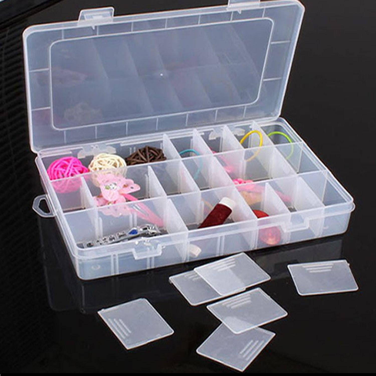 24 Grids Clear Plastic Adjustable Jewelry Storage Container DIY Crafts Organizer