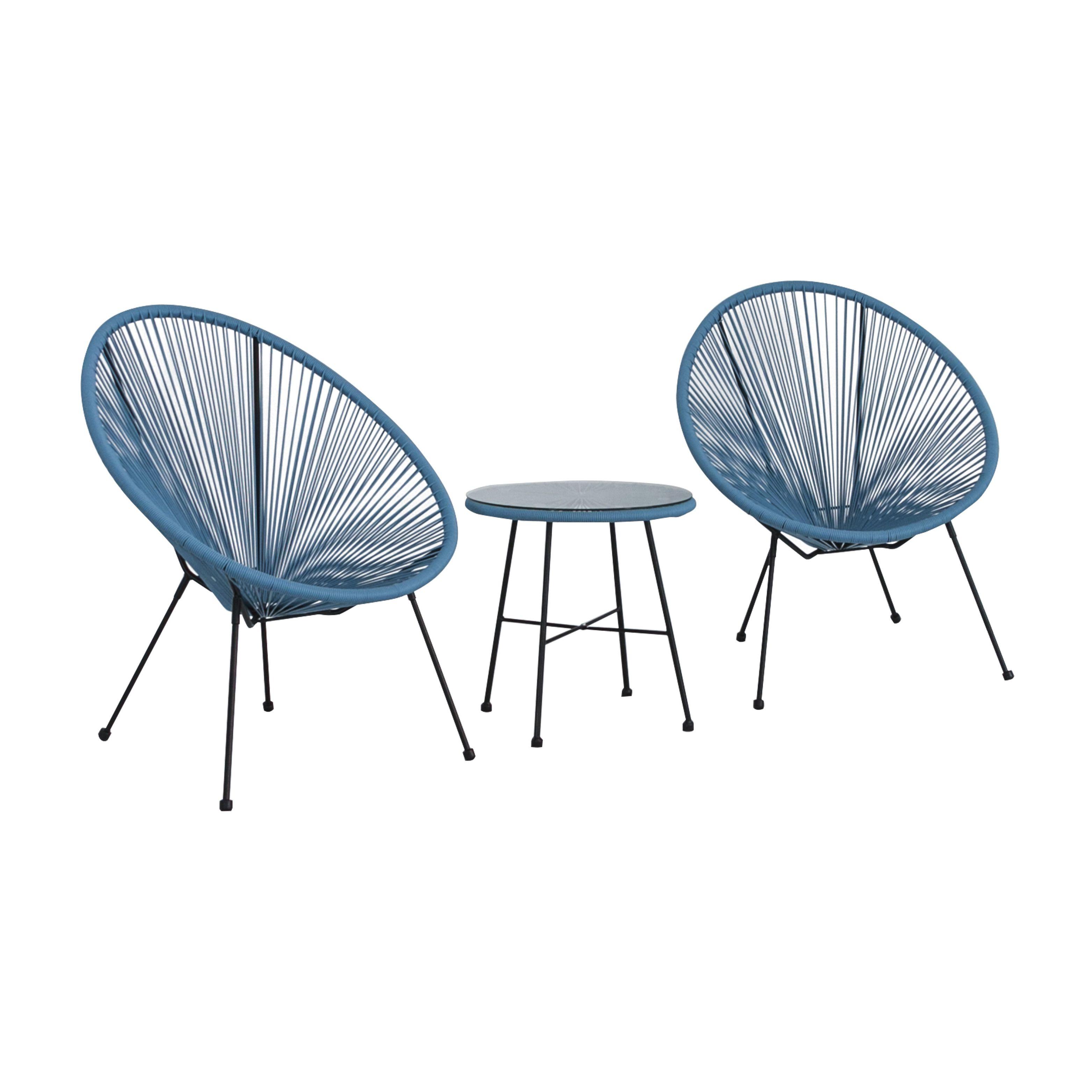 Cansler 2 Seater Rattan Conversation Set Chair, Chair