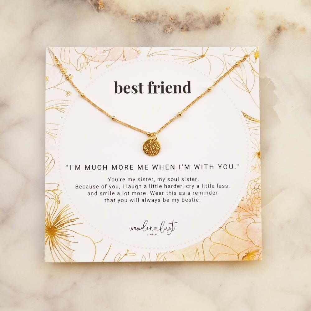 This gift set is for your bestie, your soul sister, aka your Best Friend! Gift this set to your BFF to let them know how much you are thankful for her. The Coin Necklace is simplistic & perfect for everyday wear. Give her a little daily reminder of your friendship as she wears this beautiful piece around her neck. ◊ 18K gold vermeil (gold layered over sterling silver) ◊ All necklace findings components are 100% gold-filled including clasp, tag, chain to ensure the highest quality jewelry.◊ 1