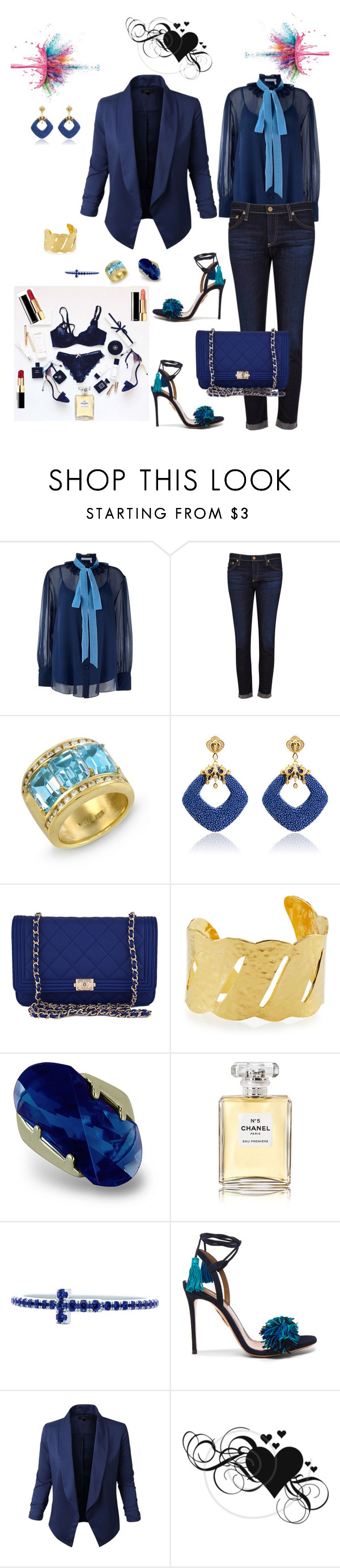 """Untitled #663"" by lianatzelese ❤ liked on Polyvore featuring See by Chloé, AG Adriano Goldschmied, Chanel, Devon Leigh, Amabel Designs, Tiffany & Co., Aquazzura, Jupe de Abby and Givenchy"