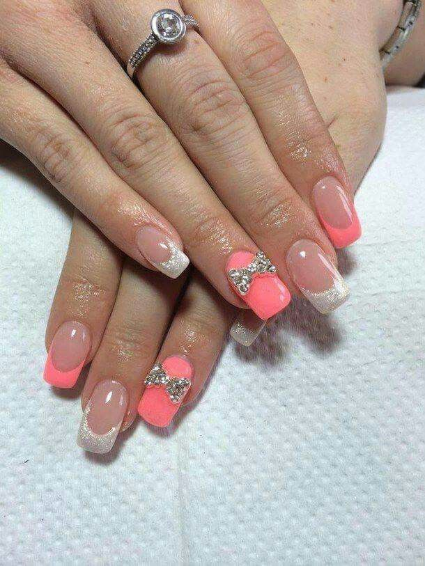 Pink and silver with bow nails