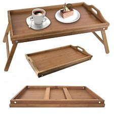 WOODEN FOLDING BAMBOO SERVING LAP TRAY WITH LEGS BREAKFAST IN BED TV DINNER NEW