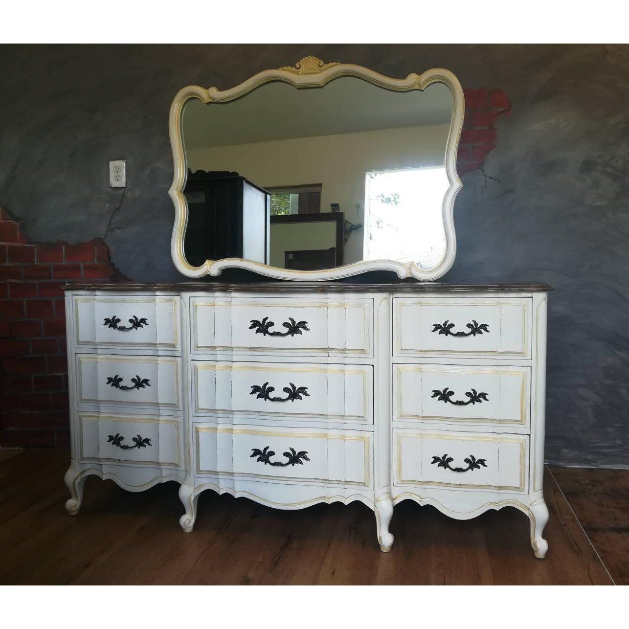 Scalloped French Provincial Dresser With Mirror A Pair For Sale