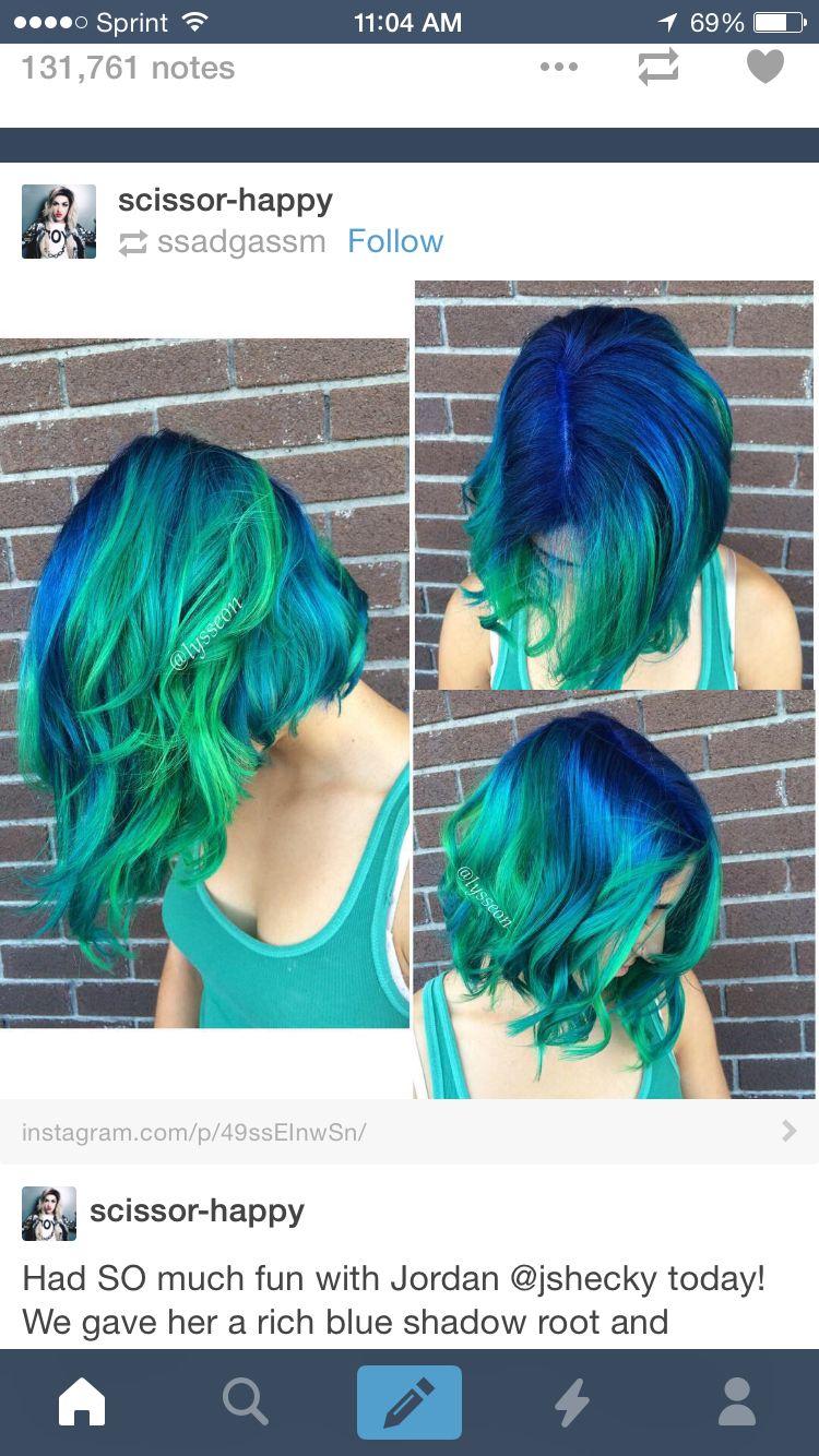 Green blue hair color unnatural pinterest hair coloring