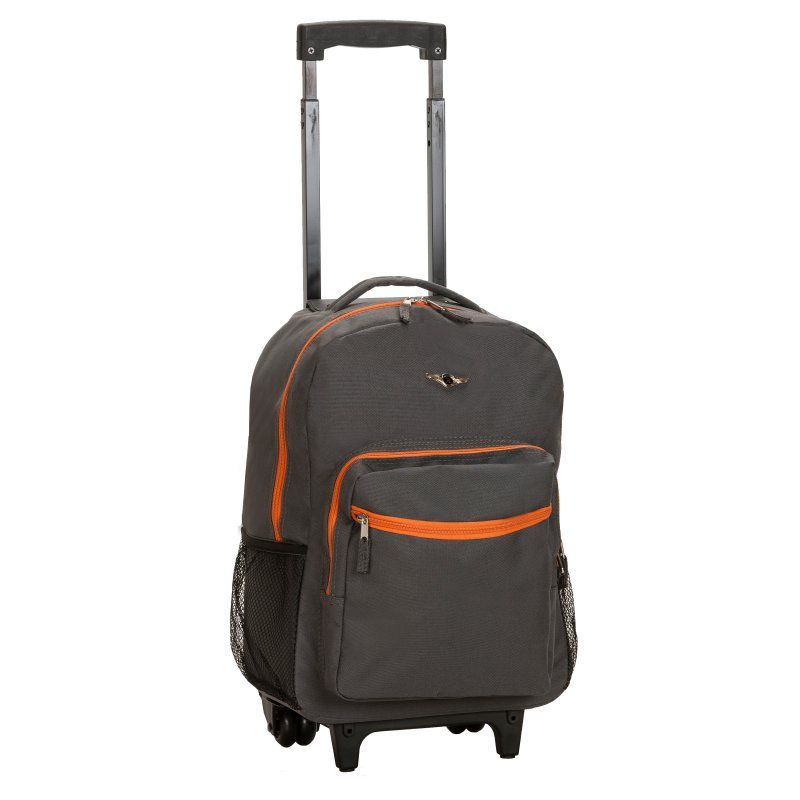 Rockland Luggage R01 17 in. Rolling Backpack Charcoal - R01-CHARCOAL