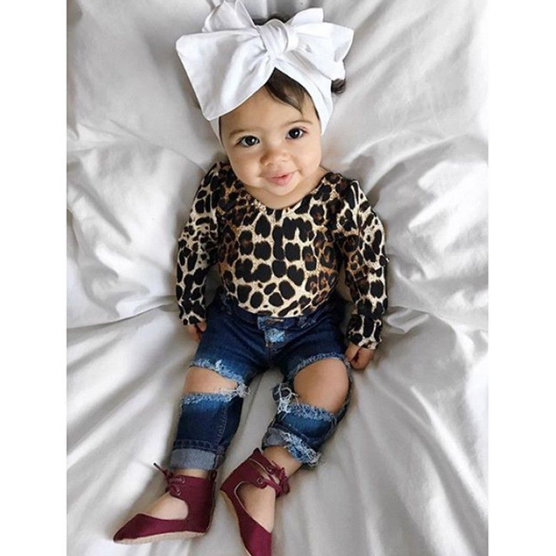 740e53b76 Kids Baby Girl Leopard Outfits Long Sleeve Tops+Ripped Denim Jeans ...