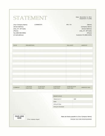 Billing Statement Green Gradient Design Statement Template Invoice Template Word Artist Statement Template