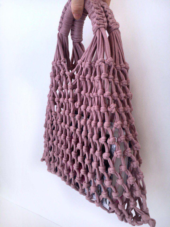 крючком сумка вязанная летняя