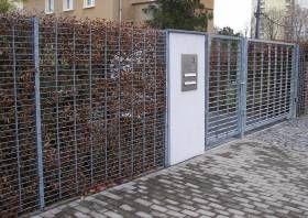 Zaun Sichtschutzzaun Gitterzaun mit Hainbuchenhecke