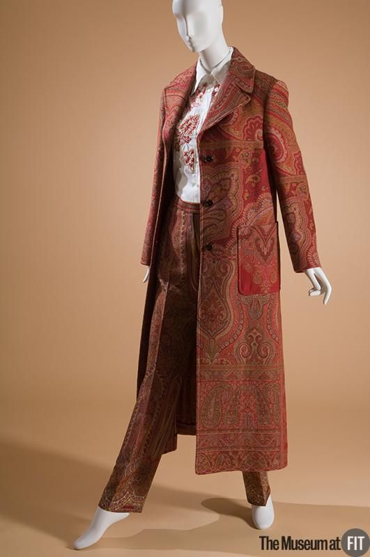 Coat | Veronica Etro | Italy, Fall 2002-2003 | Red, ochre, and brown wool | The Museum at FIT