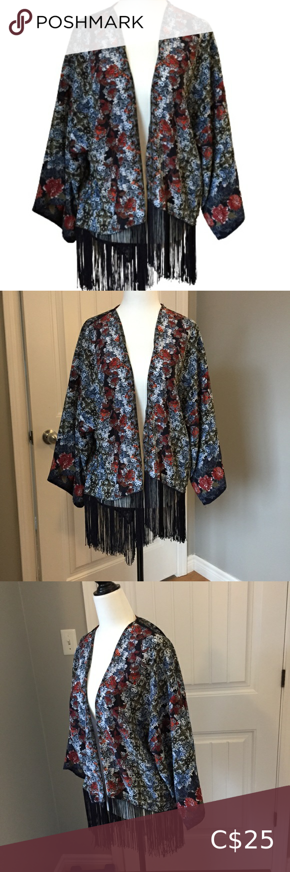 Hint of Mint Kimono with Fringes