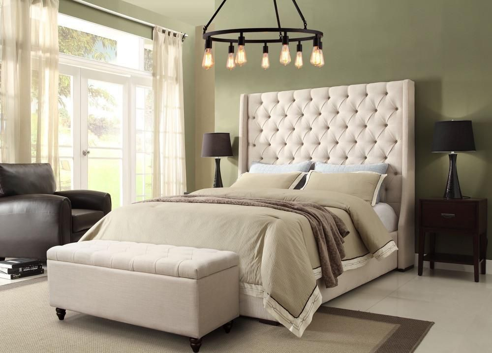 Park Avenue King Bed with Tall Diamond Tufted Headboard in Desert ...