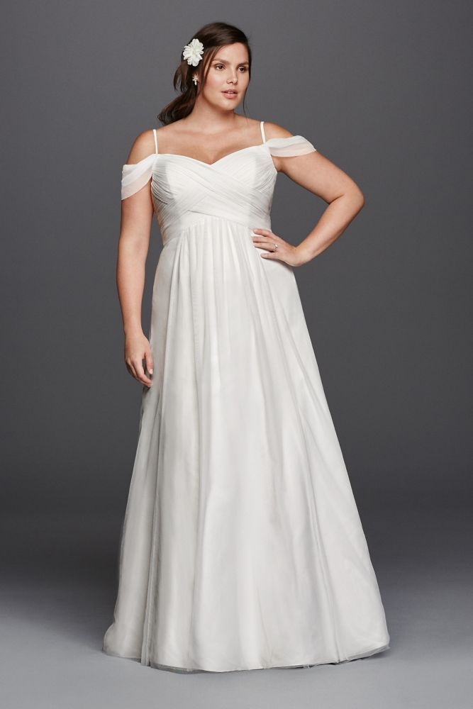 Tulle A-line Plus Size Wedding Dress with Swag Sleeves - Ivory, 16W ...