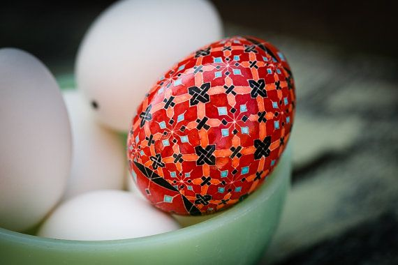 There's still time to order this before Christmas. And I can make it into an ornament for you - it would look lovely on tree! --- Pysanky, Ukrainian Easter Egg, Batik, Blackwork, Charity