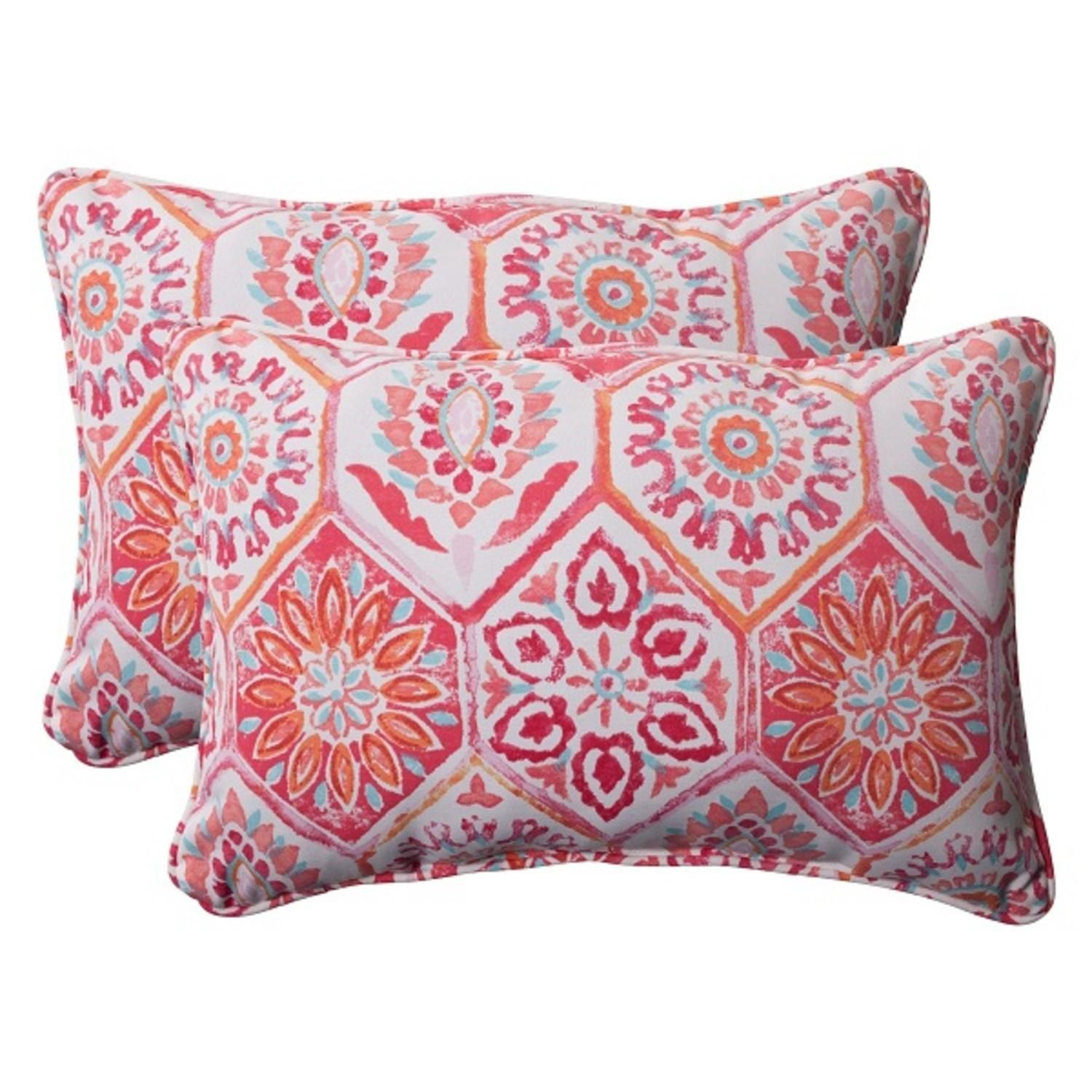 Set of 2 Pink Pyschedelic Outdoor Patio Corded Rectangular Throw