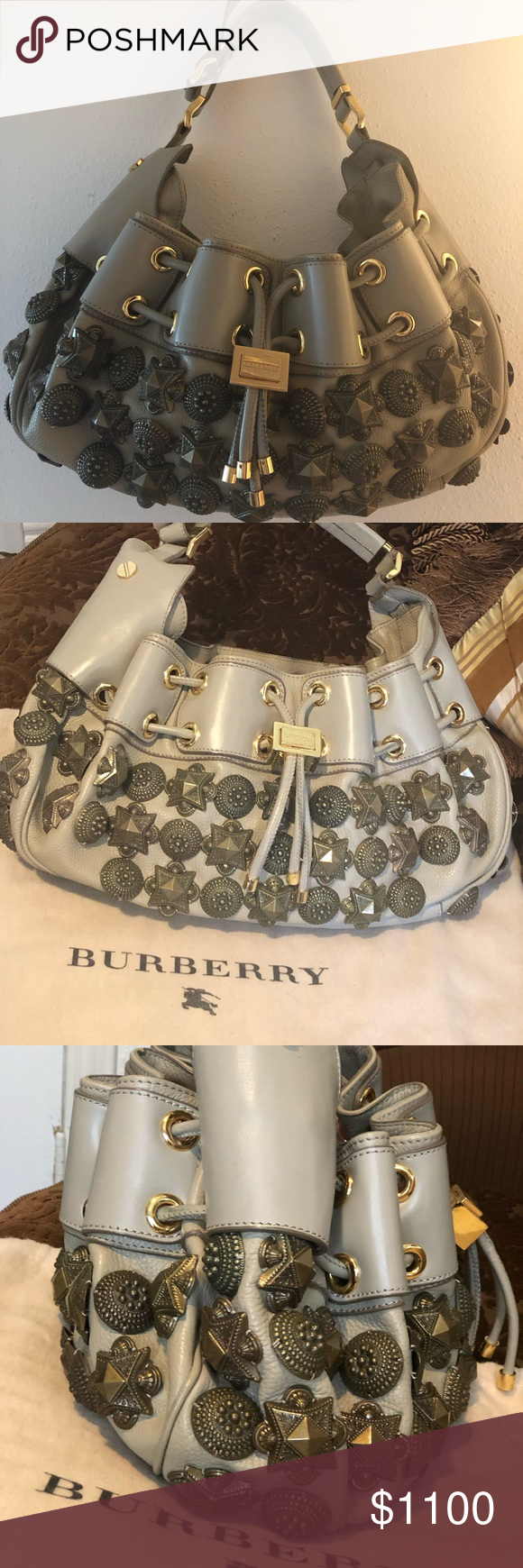 BURBERRY Prorsum Mason Warrior Studded Hobo Bag RARE 2008 LARGE Leather  Runway Gray Leather Burberry Prorsum c7be3a7aaa24d