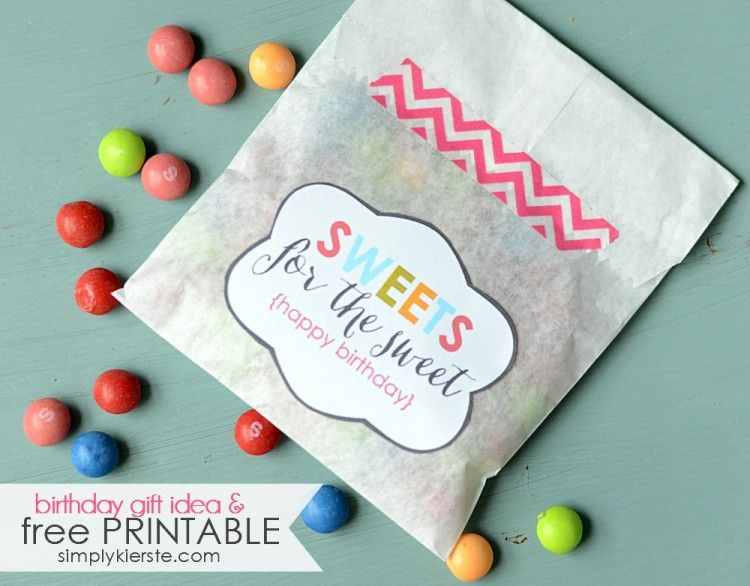FREE printable happy birthday #tags: Sweets for the Sweet | DIY Birthday Gift Idea